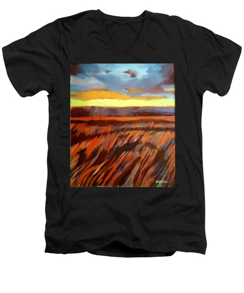 Men's V-Neck T-Shirt featuring the painting Red Field by Helena Wierzbicki