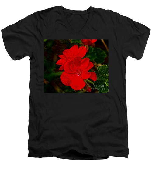 Red Flowers Men's V-Neck T-Shirt