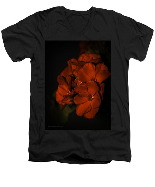Men's V-Neck T-Shirt featuring the photograph Red Flowers In Evening Light by Lucinda Walter