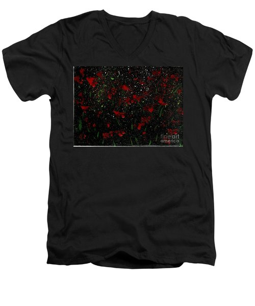 Men's V-Neck T-Shirt featuring the painting Red Flowers In Twilight  by Becky Lupe