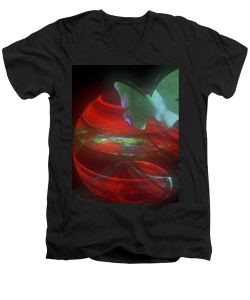 Red Fractal Bowl With Butterfly Men's V-Neck T-Shirt