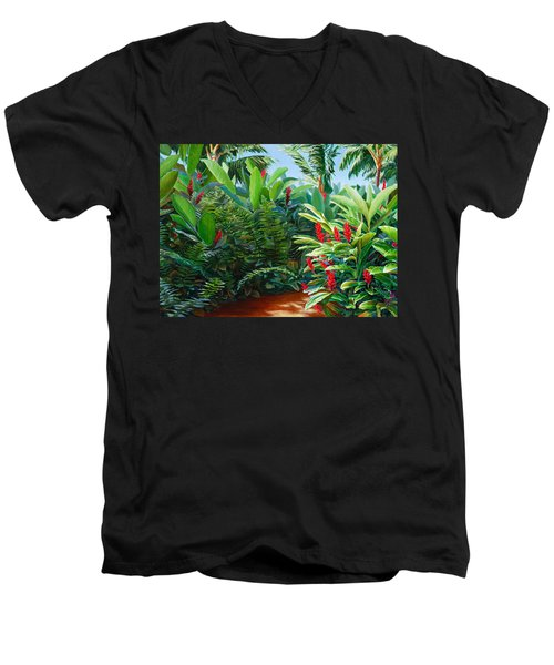 Tropical Jungle Landscape - Red Garden Hawaiian Torch Ginger Wall Art Men's V-Neck T-Shirt