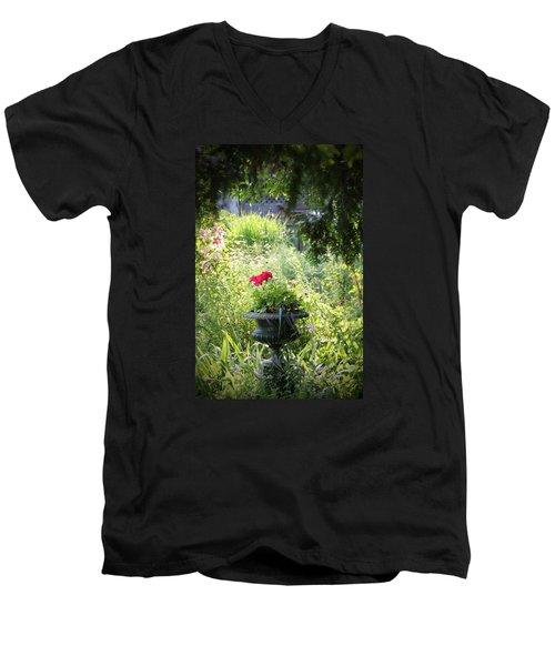 Red Geranium Men's V-Neck T-Shirt by John Stuart Webbstock