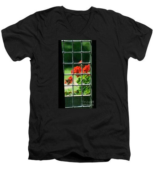 Red Geranium Through Leaded Window Men's V-Neck T-Shirt