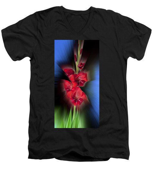 Men's V-Neck T-Shirt featuring the photograph Red Gladiola by Mark Greenberg