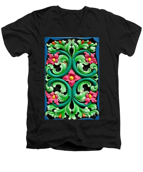 Red Green And Blue Floral Design Singapore Men's V-Neck T-Shirt by Imran Ahmed