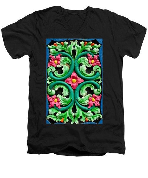 Red Green And Blue Floral Design Singapore Men's V-Neck T-Shirt
