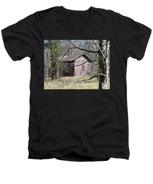 Men's V-Neck T-Shirt featuring the photograph Red House by Nick Kirby