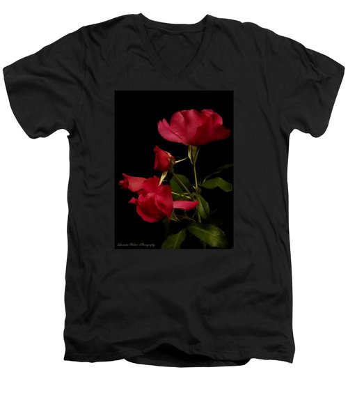 Men's V-Neck T-Shirt featuring the photograph Red Is For Passion by Lucinda Walter