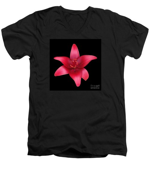 Men's V-Neck T-Shirt featuring the photograph Red Lily by Judy Whitton