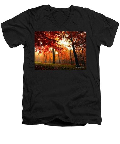 Red Maple Forest Men's V-Neck T-Shirt by Terri Gostola