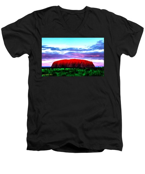 Men's V-Neck T-Shirt featuring the painting Red Mountain Sunset by Bruce Nutting