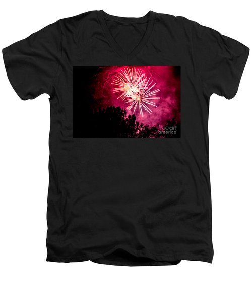 Men's V-Neck T-Shirt featuring the photograph Red Night by Suzanne Luft