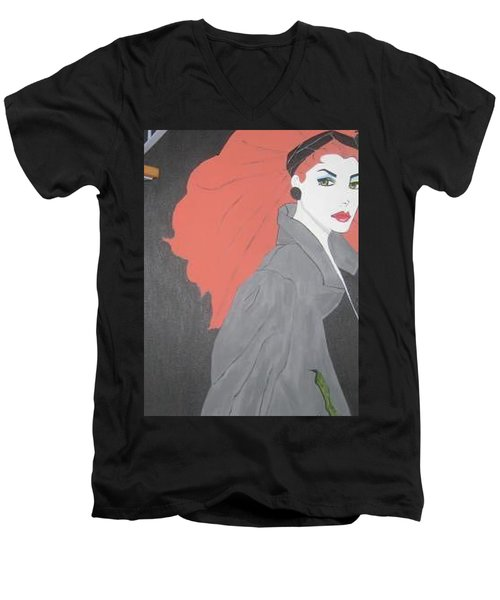 Men's V-Neck T-Shirt featuring the painting RED by Nora Shepley