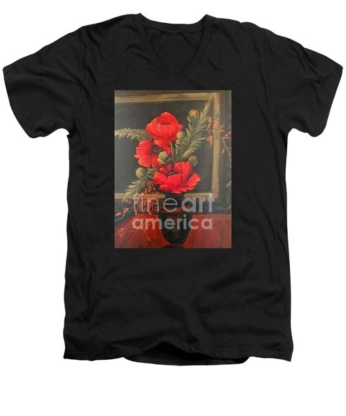 Red Poppies Men's V-Neck T-Shirt by Glory Wood
