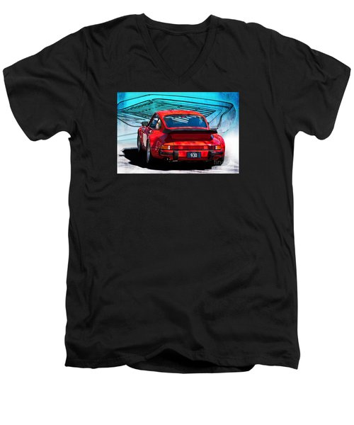 Red Porsche 930 Turbo Men's V-Neck T-Shirt