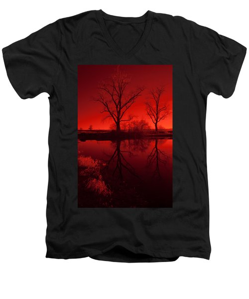 Red Reflections Men's V-Neck T-Shirt by Miguel Winterpacht