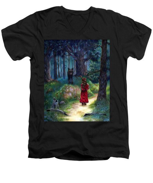 Men's V-Neck T-Shirt featuring the painting Red Riding Hood by Heather Calderon