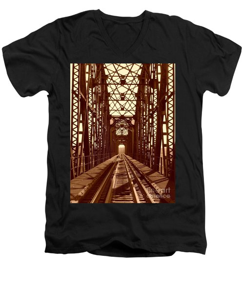Men's V-Neck T-Shirt featuring the photograph Red River Train Bridge #1 by Robert ONeil