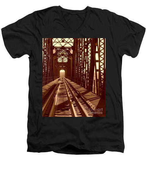 Men's V-Neck T-Shirt featuring the photograph Red River Train Bridge #2 by Robert ONeil