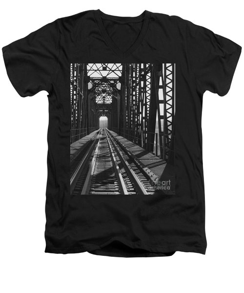 Men's V-Neck T-Shirt featuring the photograph Red River Train Bridge #3 by Robert ONeil