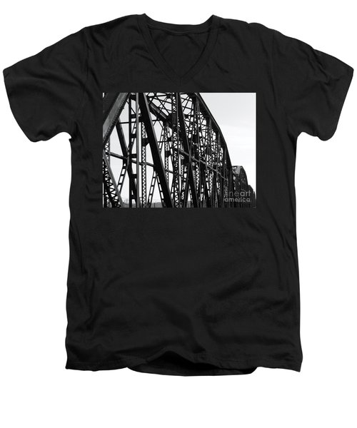 Men's V-Neck T-Shirt featuring the photograph Red River Train Bridge #4 by Robert ONeil