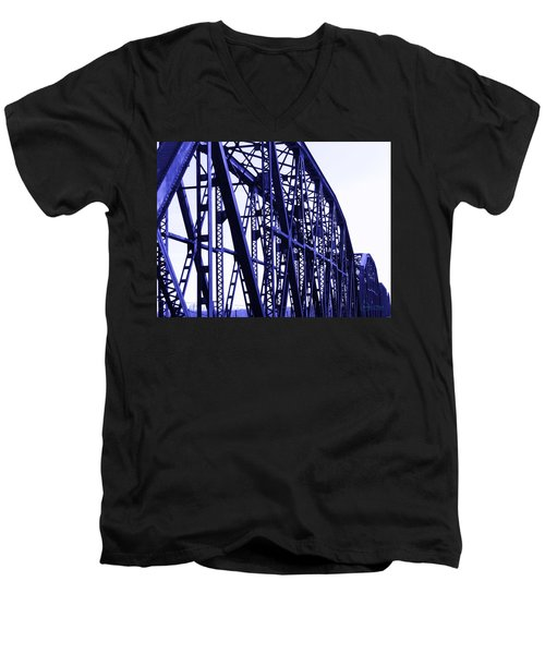 Men's V-Neck T-Shirt featuring the photograph Red River Train Bridge #5 by Robert ONeil