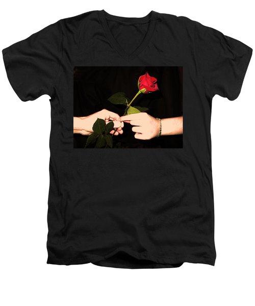Red Rose By Jan Marvin Studios Men's V-Neck T-Shirt