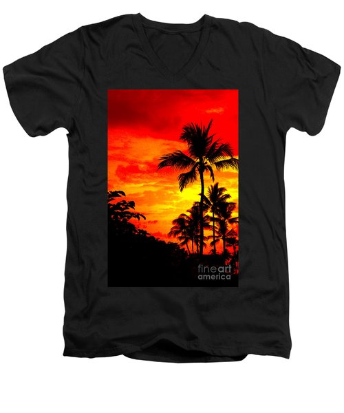 Men's V-Neck T-Shirt featuring the photograph Red Sky At Night by David Lawson