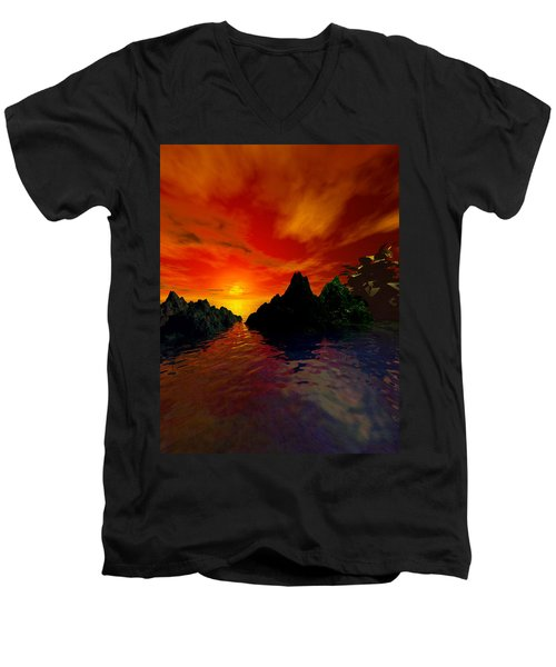Men's V-Neck T-Shirt featuring the digital art Red Sky by Kim Prowse