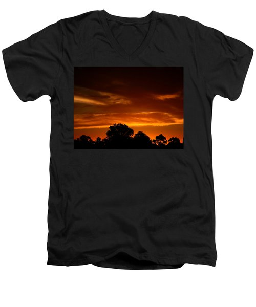 Red Sunset Men's V-Neck T-Shirt by Mark Blauhoefer