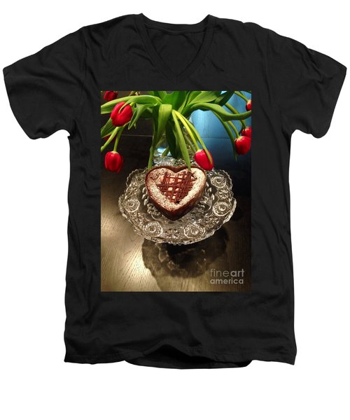 Red Tulip And Chocolate Heart Dessert Men's V-Neck T-Shirt