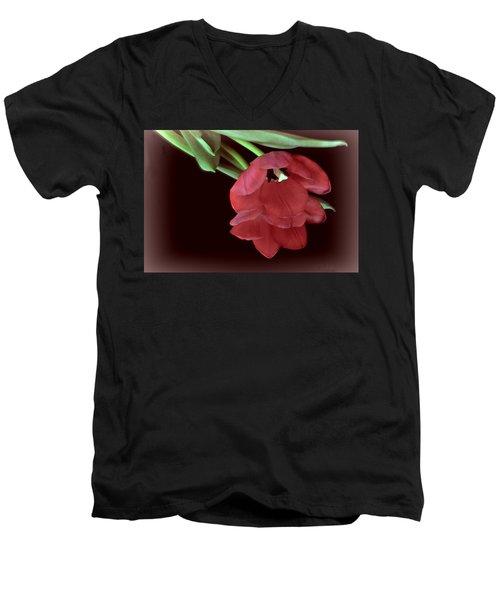 Red Tulip On Burgundy Men's V-Neck T-Shirt