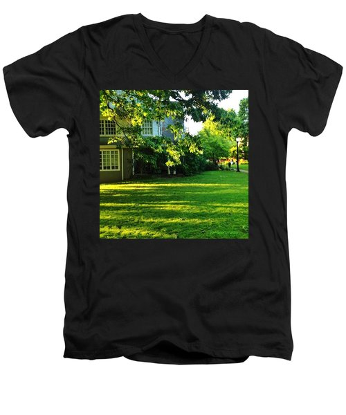 Reed College Campus Evening Light Men's V-Neck T-Shirt by Anna Porter