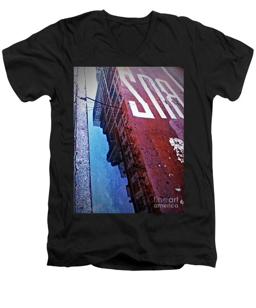 Men's V-Neck T-Shirt featuring the photograph Reflecting On City Life by James Aiken