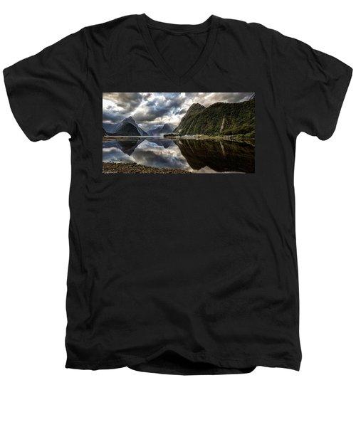 Reflecting On Milford Men's V-Neck T-Shirt