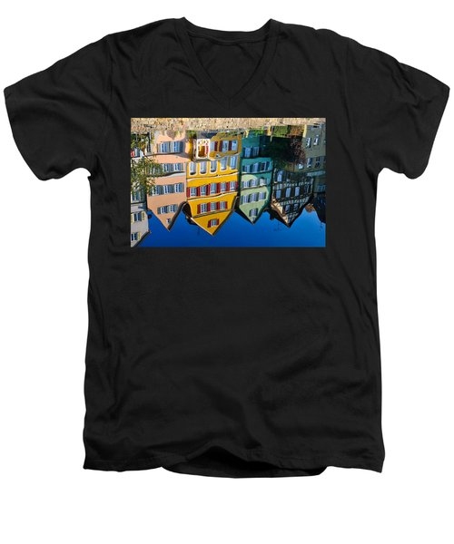 Reflection Of Colorful Houses In Neckar River Tuebingen Germany Men's V-Neck T-Shirt by Matthias Hauser