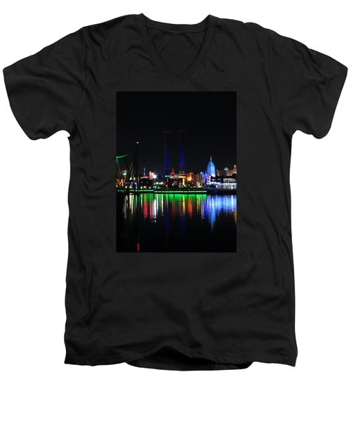 Reflections At Night Men's V-Neck T-Shirt