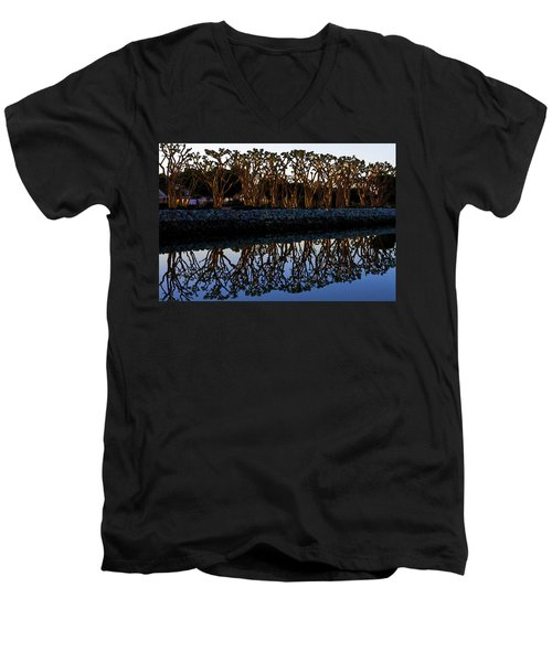 Men's V-Neck T-Shirt featuring the photograph Reflections In First Light by Gary Holmes