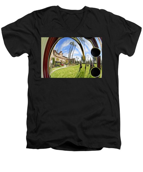 Men's V-Neck T-Shirt featuring the pyrography Reflections Of A 1937 Cord by Shoal Hollingsworth