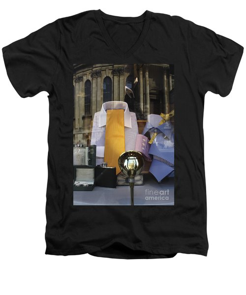 Men's V-Neck T-Shirt featuring the photograph Reflections Of A Gentleman's Tailor by Terri Waters