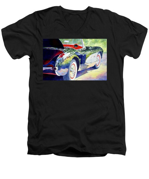 Men's V-Neck T-Shirt featuring the painting Reflections On A Corvette by Roger Rockefeller