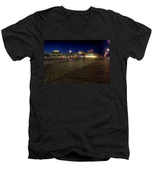 Rehoboth Beach Boardwalk At Night Men's V-Neck T-Shirt