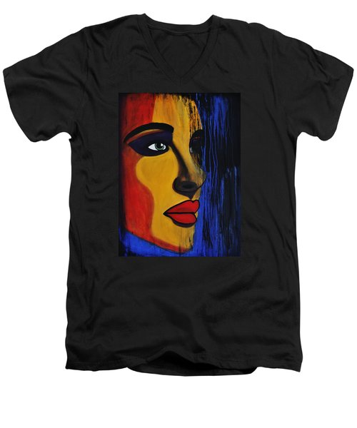 Men's V-Neck T-Shirt featuring the painting Reign Over Me 2 by Michael Cross