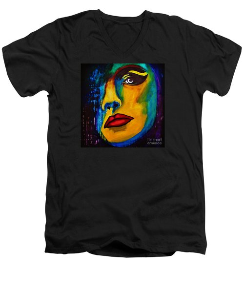 Men's V-Neck T-Shirt featuring the painting Reign Over Me by Michael Cross