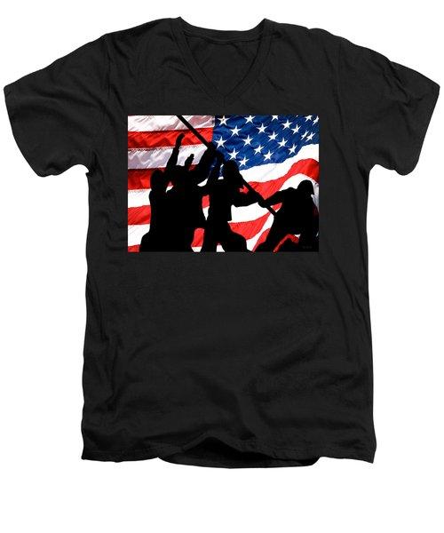 Remembering World War II Men's V-Neck T-Shirt by Bob Orsillo