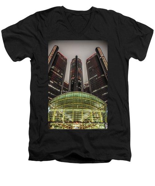 Renaissance Center Detroit Michigan Men's V-Neck T-Shirt