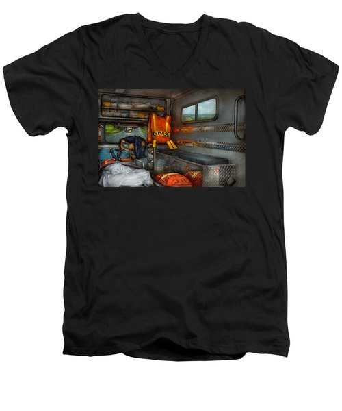 Rescue - Emergency Squad  Men's V-Neck T-Shirt by Mike Savad