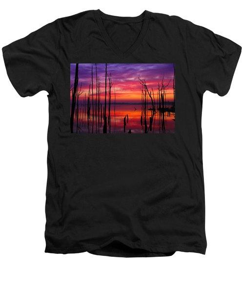 Reservoir At Sunrise Men's V-Neck T-Shirt