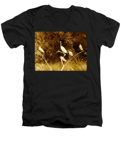 Resting Flock Sepia Men's V-Neck T-Shirt